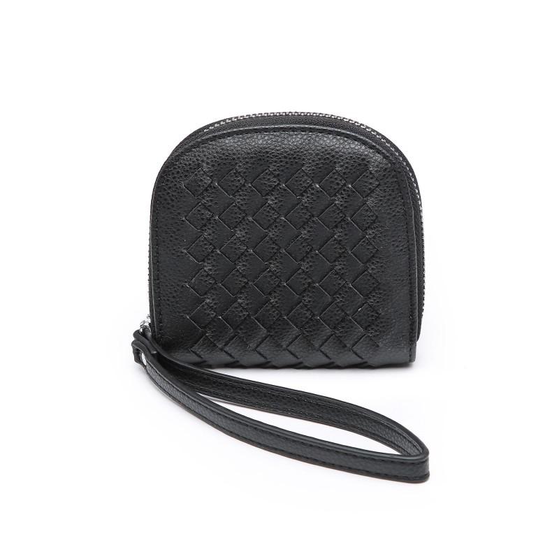 Basket Weave Coin Purse - Black