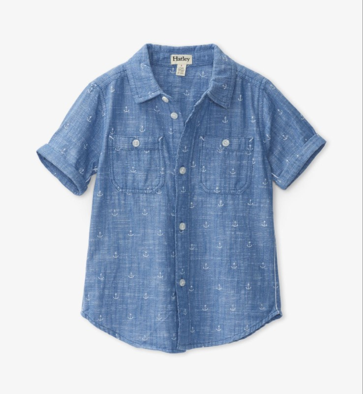 Hatley Chambray Anchors Short Sleeve Button Down Shirt