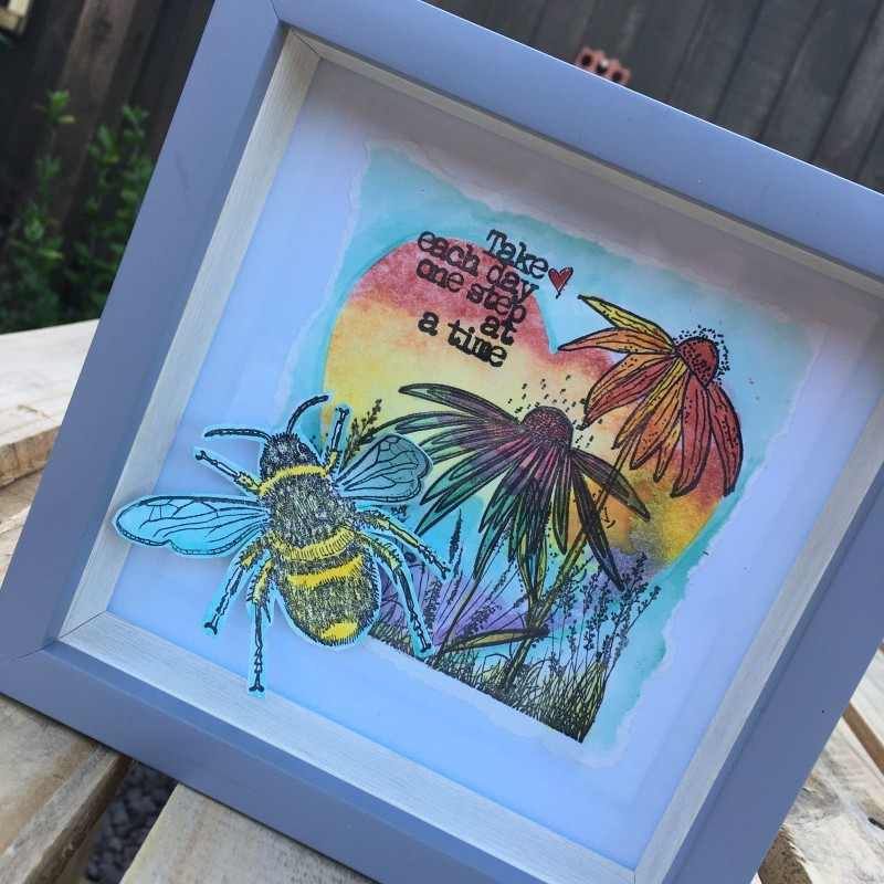 Rainbow ' take life one step at a time ' bee frame  17cmx17cm