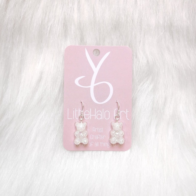 White Gummy Bear Glitter Earrings