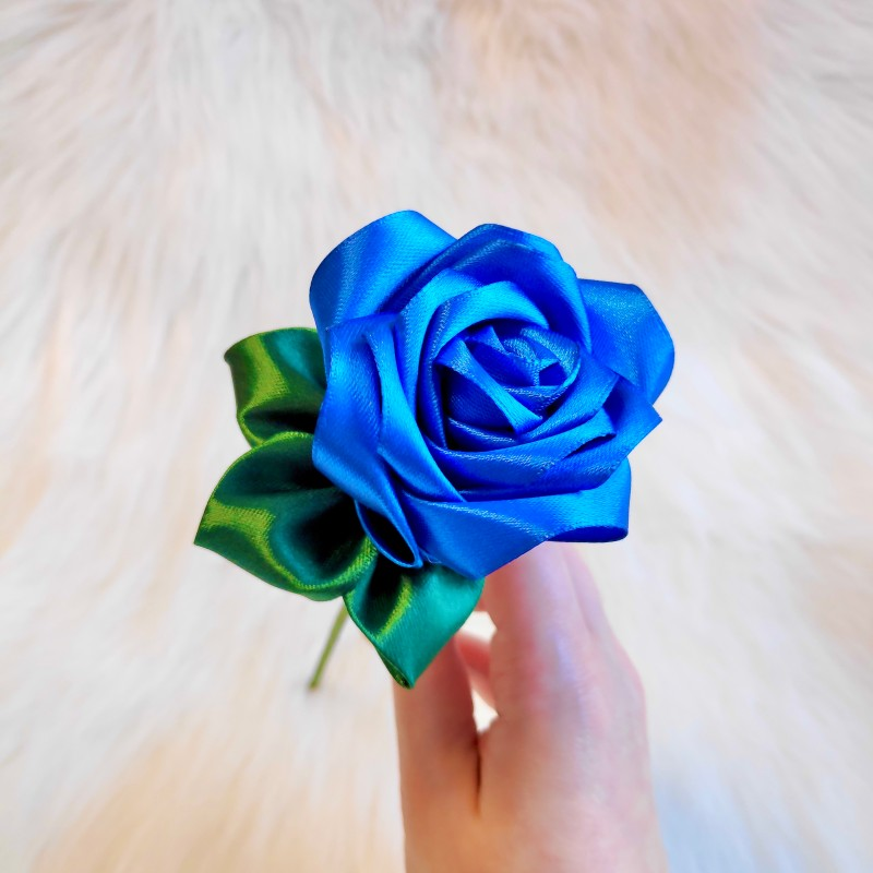 Dark Blue Satin Rose