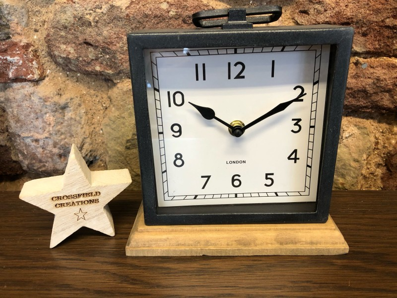 Clock on Wooden Base