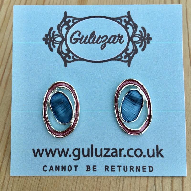 Geometric Oval Earrings - Pink/Blue