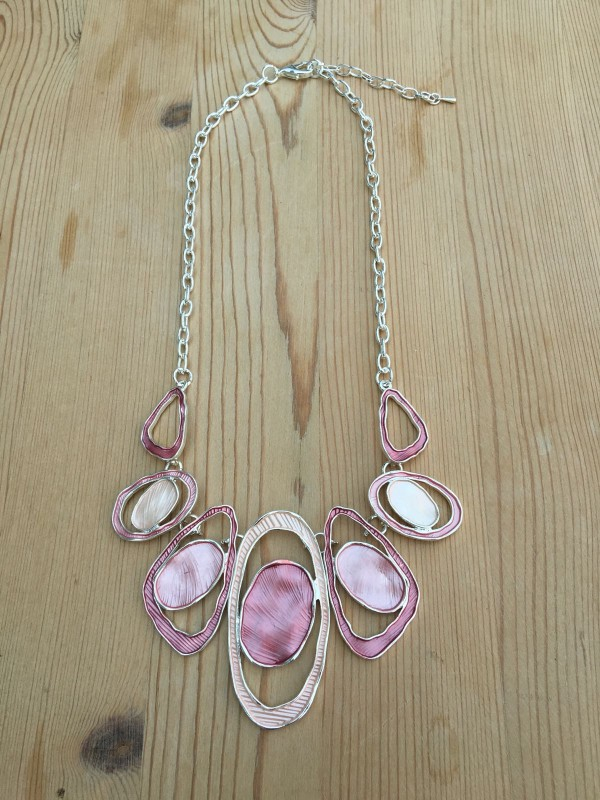 Geometric Oval Necklace - Pink