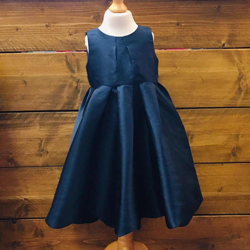 MONSOON NAVY BRIDEMAIDS/PARTY DRESS, RIBBON TIE AT THE BACK AND A SCALLOPED HEM 2-3YRS