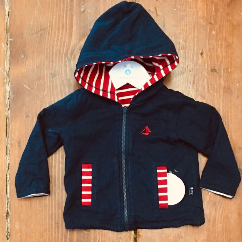JOJO MAMAN BEBE REVERSIBLE HOODED JACKET NAVY AND RED/WHITE STRIPE 3-6M