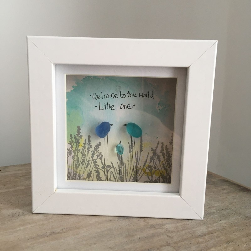New baby  'welcome to the world' gift seaglass frame  12x12cm