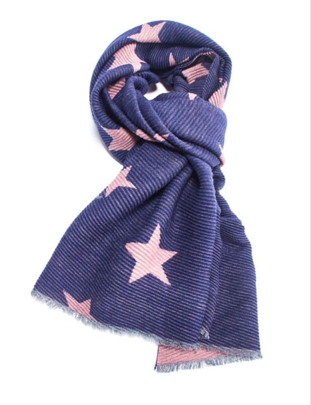Pleated Scarf Stars - Navy/Pink