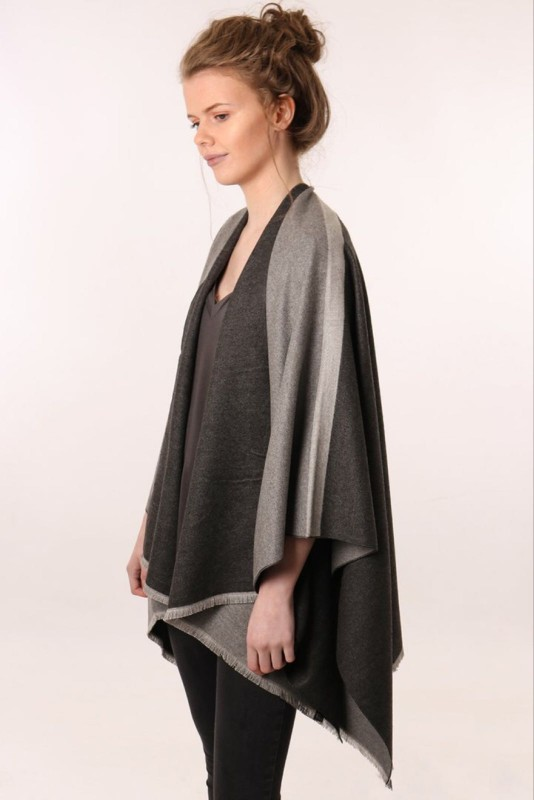 Reversible 2 Tone Cape with Stripe Sleeve - Grey/Charcoal