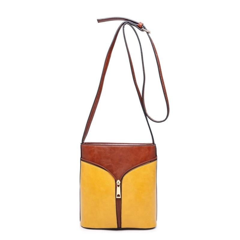 2 Tone Zip Cross Body Bag - Tan/Mustard