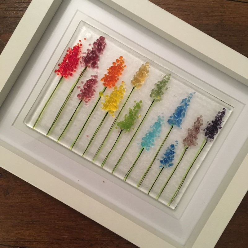 Rainbow flower fused glass frame 17.5cmx22.5cm