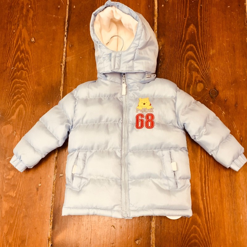 DISNEY STORE BLUE HOODED PADDED COAT 6M