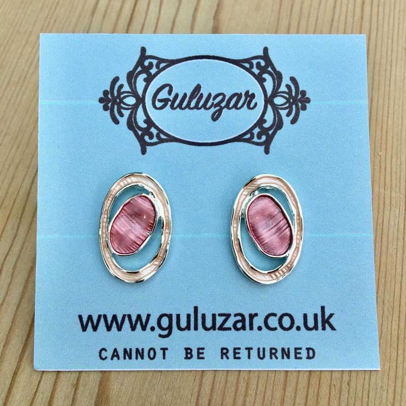 Geometric Oval Earrings - Pink