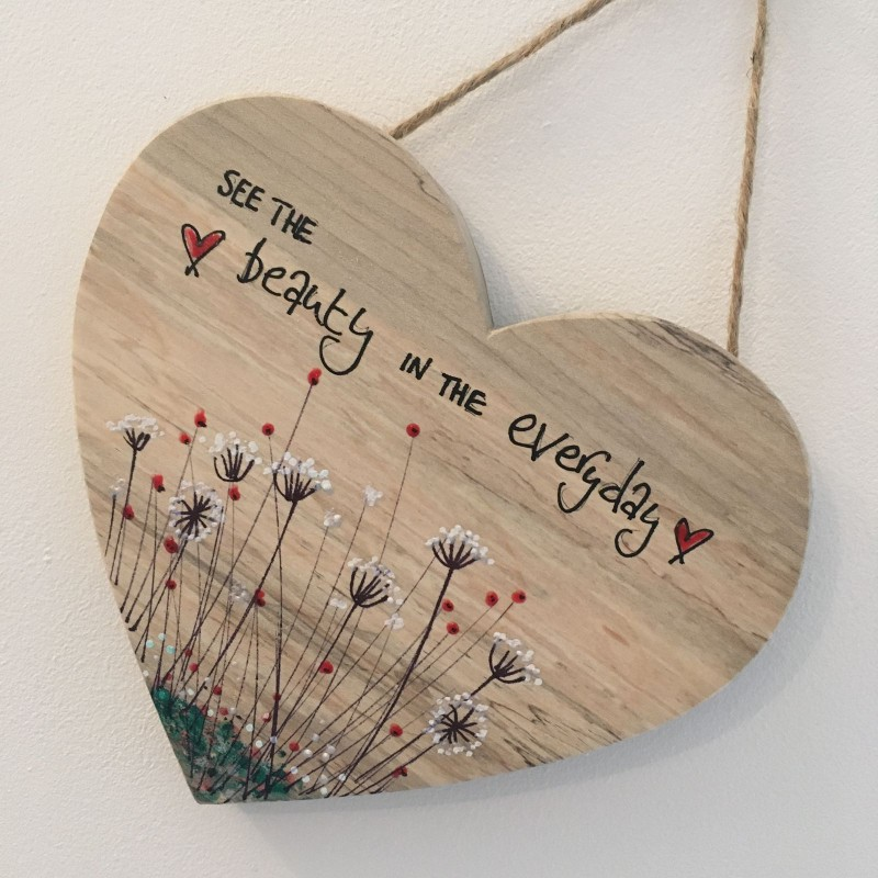 Spalted beech heart painted with meadow flowers 15x16cm