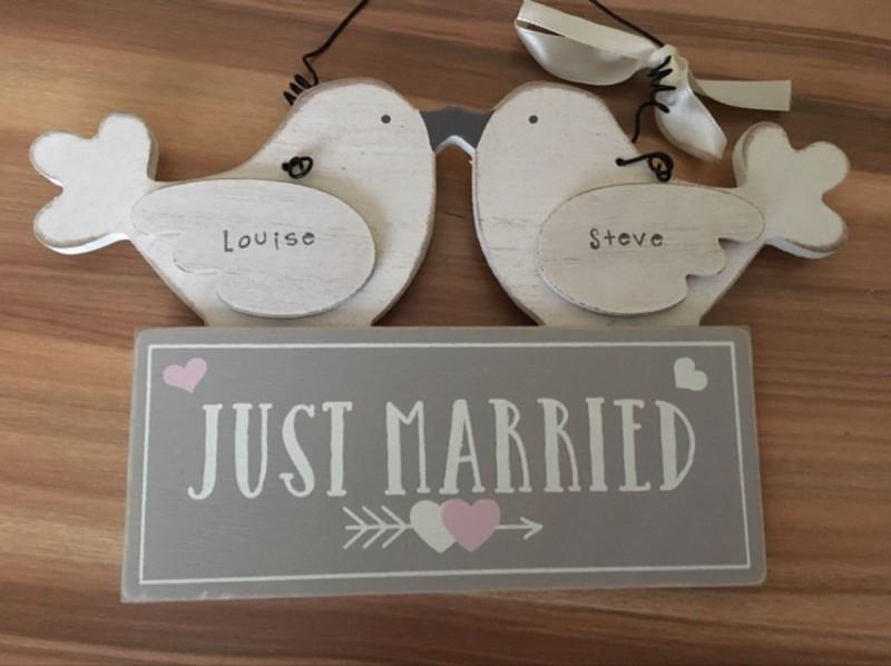 Wedding dove plaque