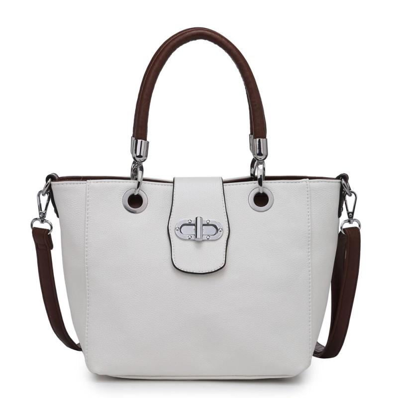 Multi Strap Flap-over Tote Bag – White