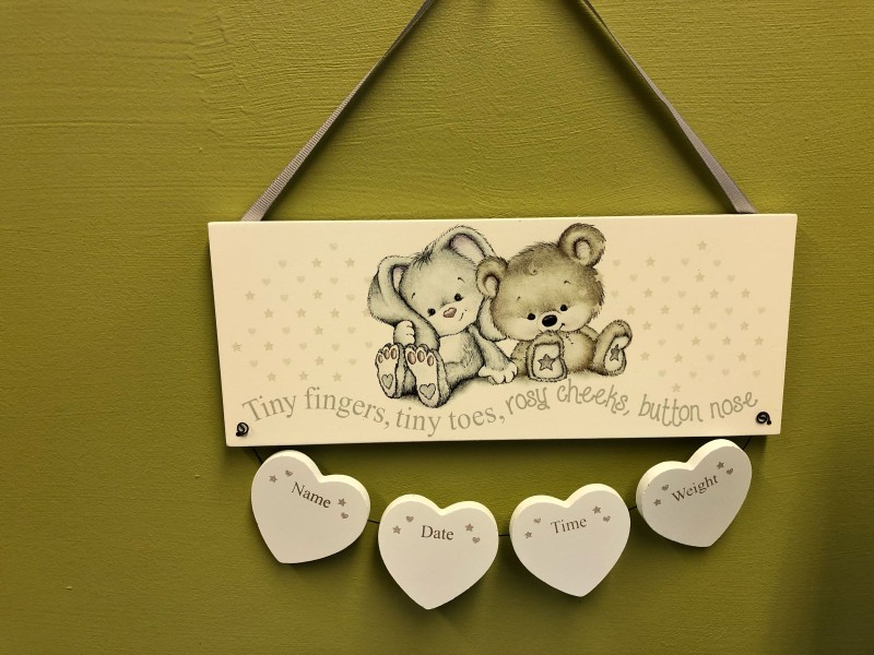 Neutral baby birth plaque - can be engraved
