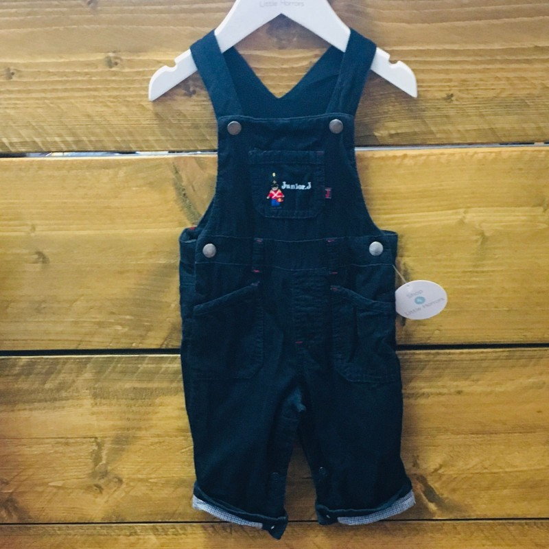 JUNIOR J NAVY CORD DUNGAREES 3-6M