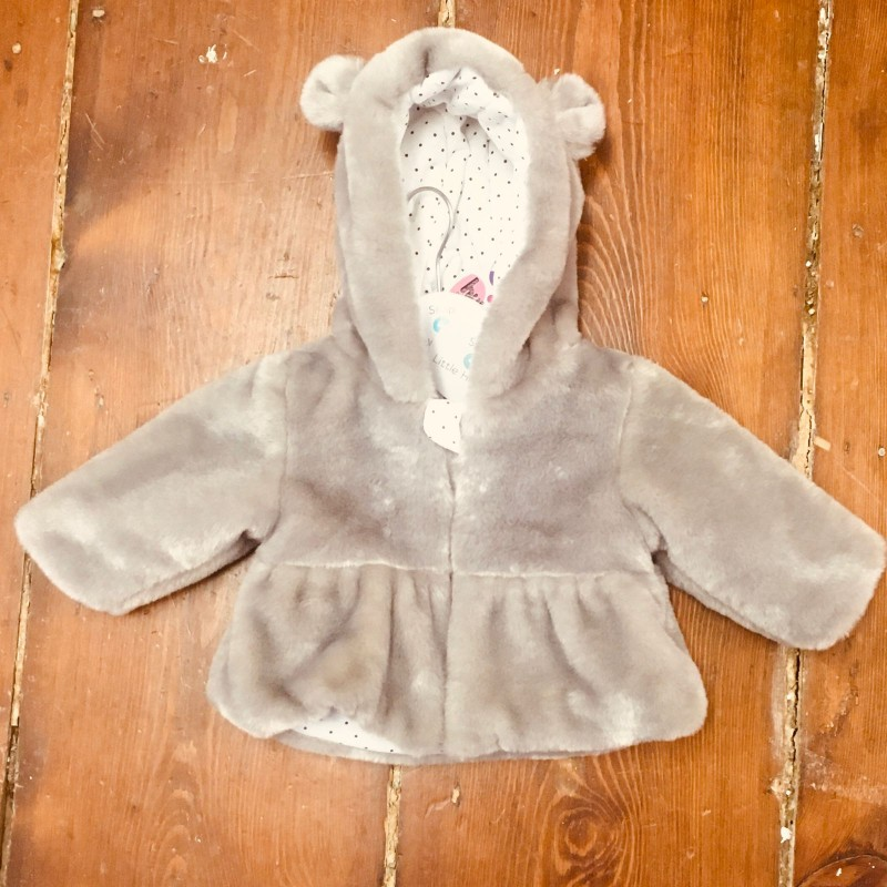 HULLABALOO GREY FURRY HOODED COAT BNWT 0-3M