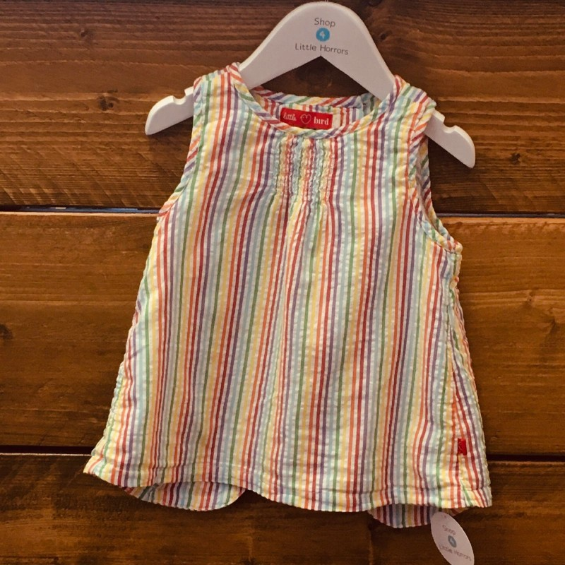 LITTLE BIRD STRIPY TOP WITH BACK OPENING 2-3YRS