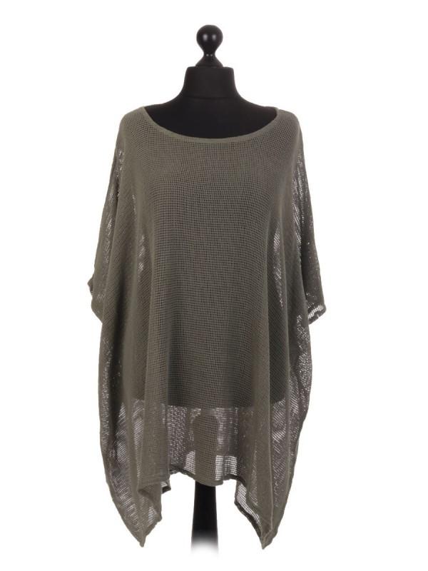 Italian Cotton Mesh Net Batwing Top - Khaki