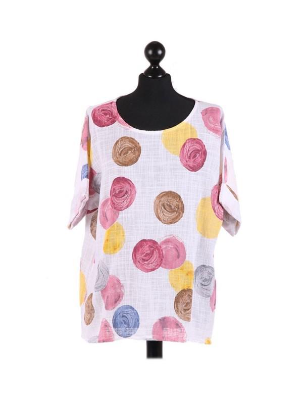 Italian Multicolor Polka Dot Cotton Crop Lagenlook Top - White