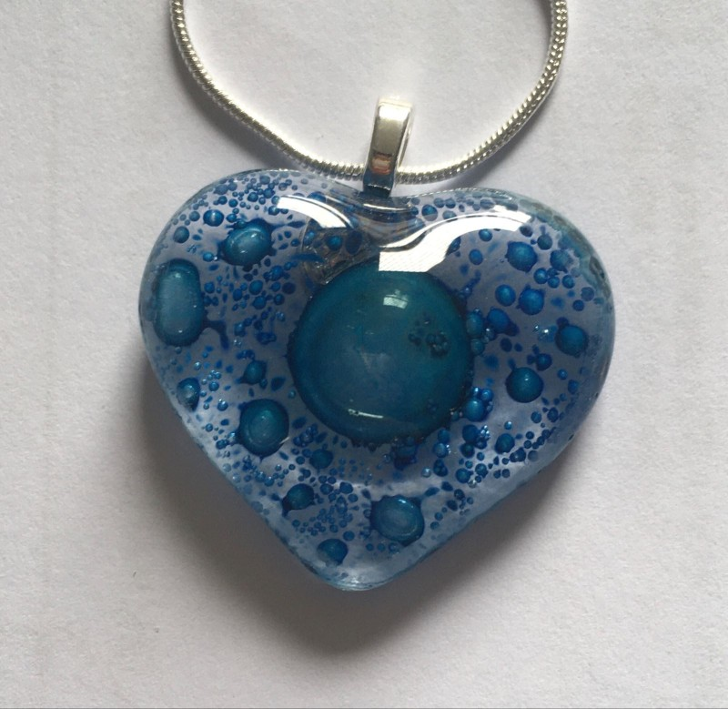 Beautiful blue fused glass heart pendant on silver plated chain