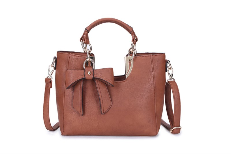 2 Section Bow Detail Bag - Tan