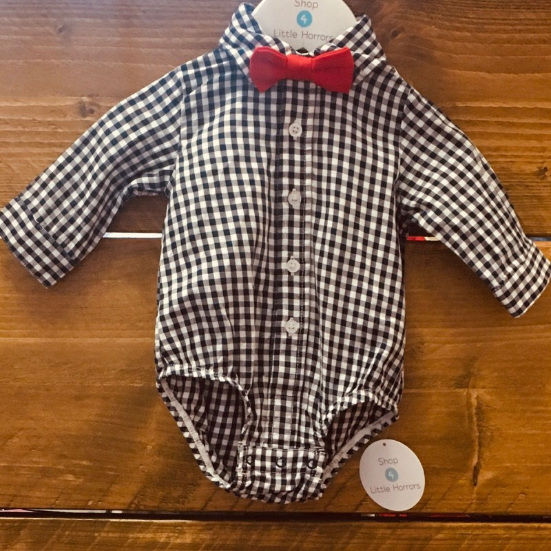LITTLE ME NAVY/WHITE WITH RED DICKY BOW BODYSUIT 3M
