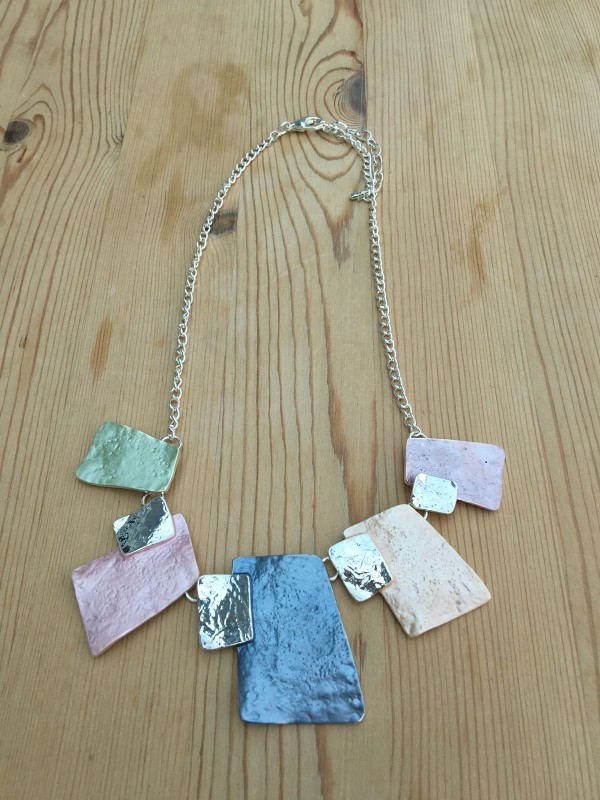 Hammered Rectangle Necklace - Multicolour