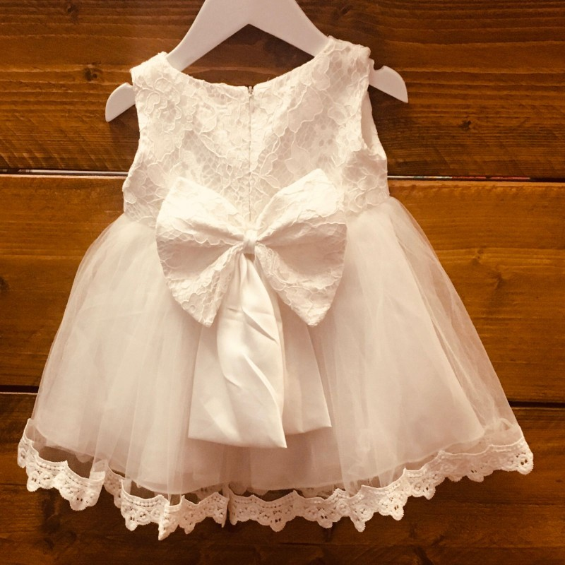 BRIDESMAID/PARTY WHITE DRESS WITH REMOVABLE BOW AT THE BACK 12M