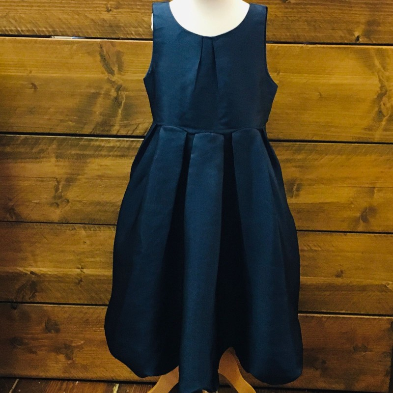 MONSOON NAVY BRIDESMAID/PARTY DRESS, RIBBON TIE AT THE BACK AND A SCALLOPED HEM 7YRS