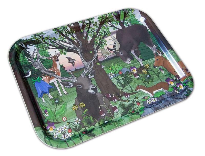 Bricka i björk 36x28 cm - Skogsdagg