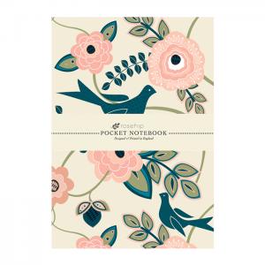 Anteckningsbok - Rosa blomma m. fåglar