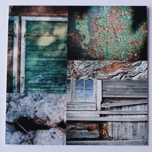 Vykort 15x15 - Grön, rost & trä
