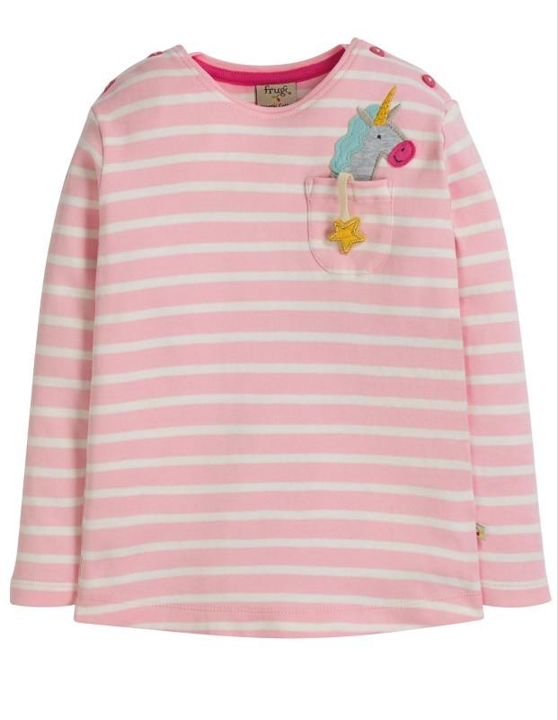 Frugi Louise Pocket Top Soft Pink Breton Unicorn