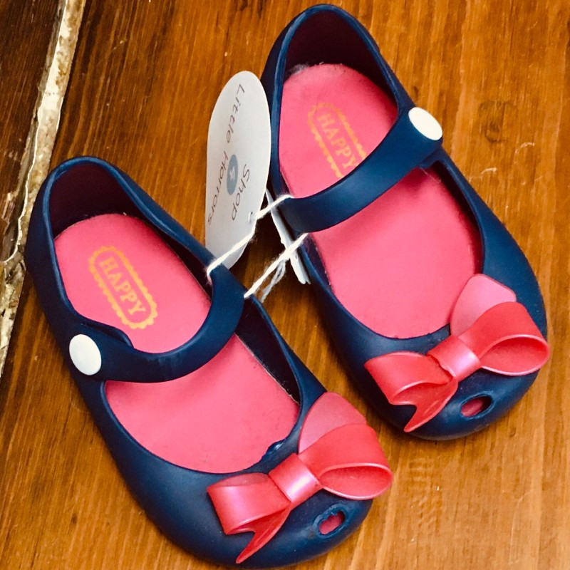 HAPPY SHOES BLUE WITH PINK BOW SIZE EU24 UK7