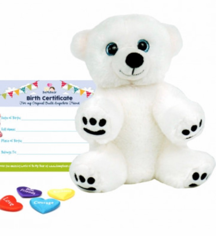 """16"""" polar bear, includes stuffing, a wish, birth certificate and a bag"""