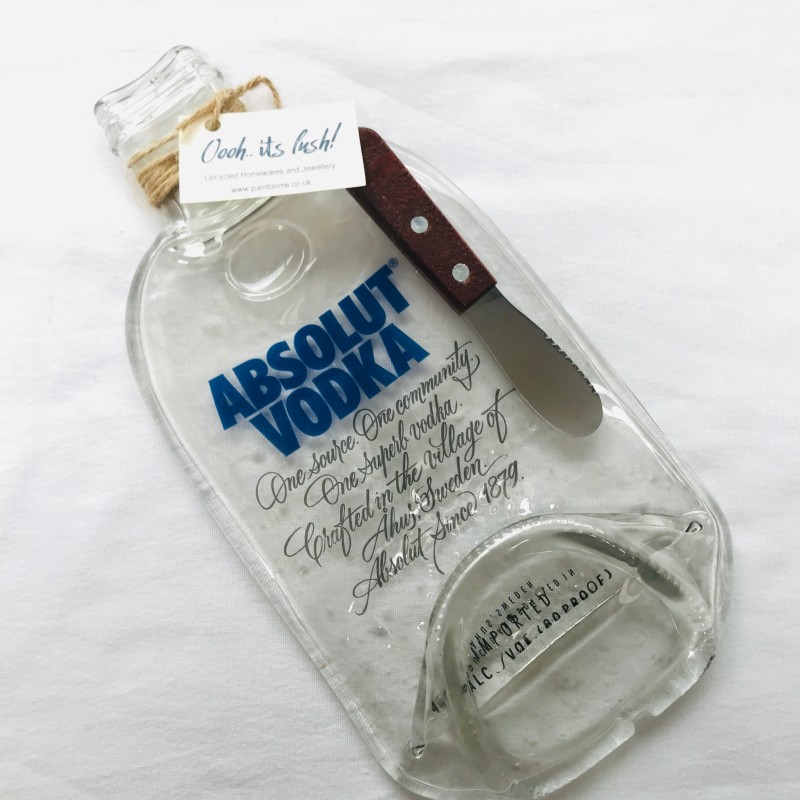 Vodka recycled glass bottle mini grazing platter, comes with cheese knife and gift box