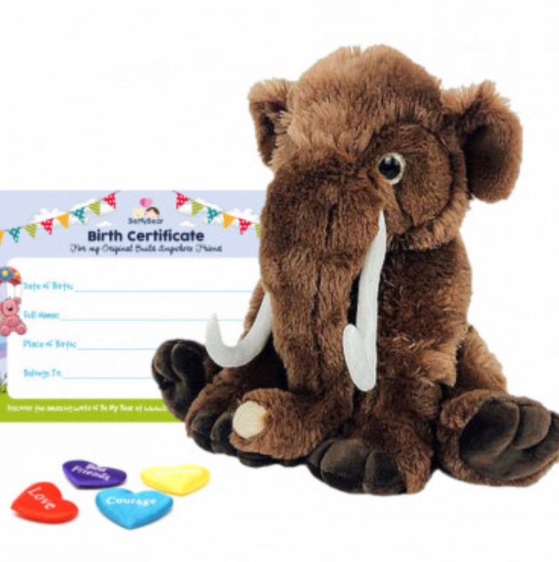 """16"""" wooly mammoth, includes stuffing, a wish, birth certificate and a bag"""