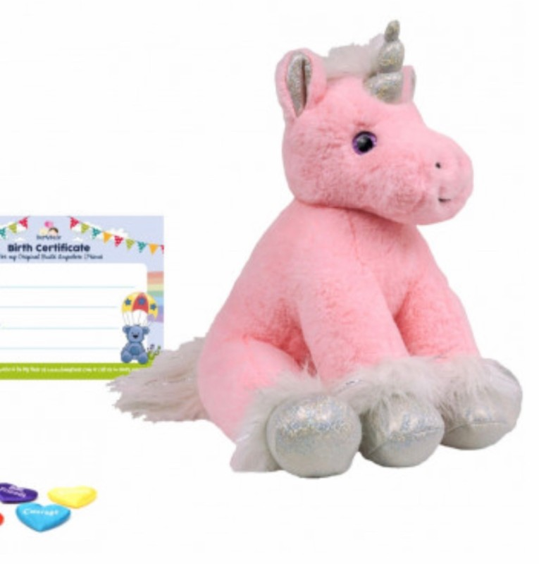 """8"""" pink unicorn, includes stuffing, a wish, birth certificate and a bag"""