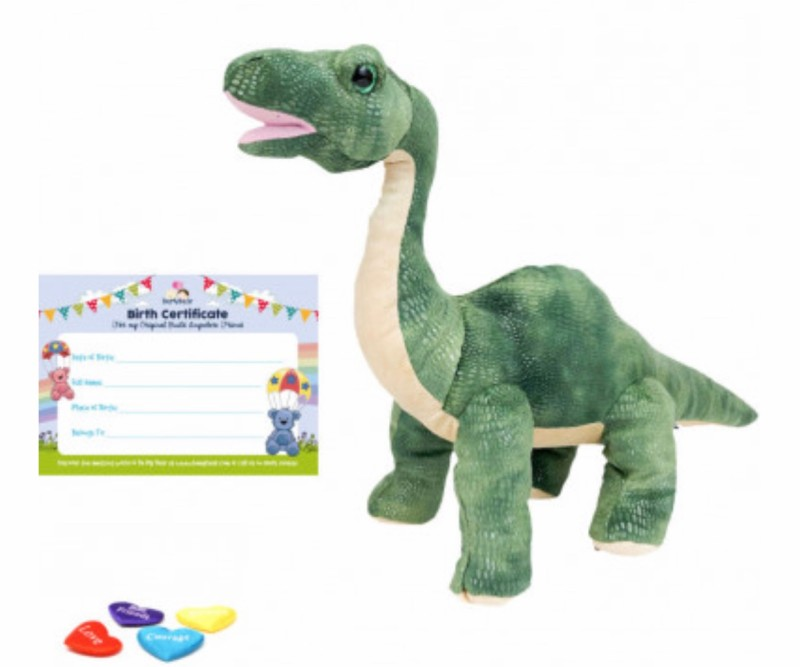 """16"""" brontosaurus, includes stuffing, a wish, birth certificate and a bag"""