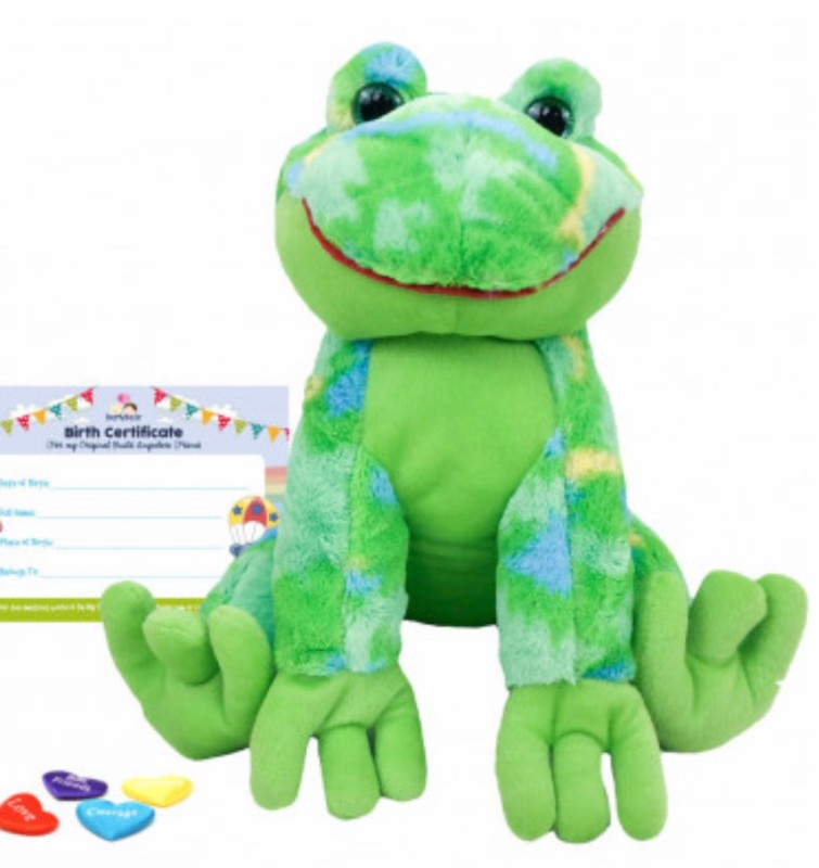 """16"""" funky frog, includes stuffing, a wish, birth certificate and a bag"""