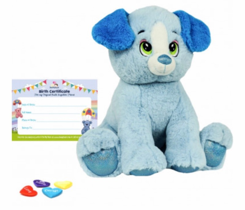 """16"""" blue dog, includes stuffing, a wish, birth certificate and a bag"""