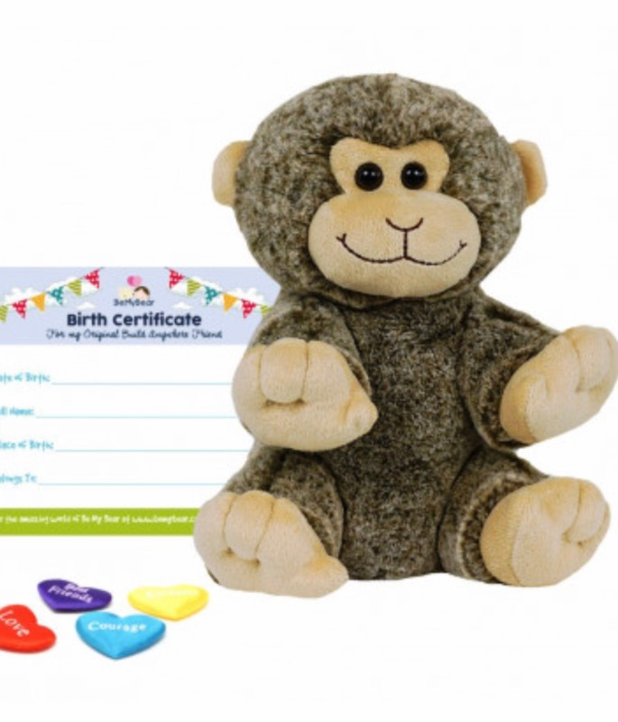 """8"""" monkey, includes stuffing, a wish, birth certificate and a bag"""