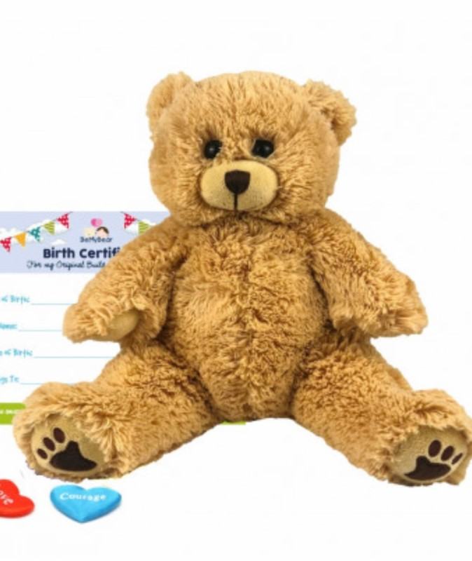 """8"""" fluffy bear, includes stuffing, a wish, birth certificate and a bag"""