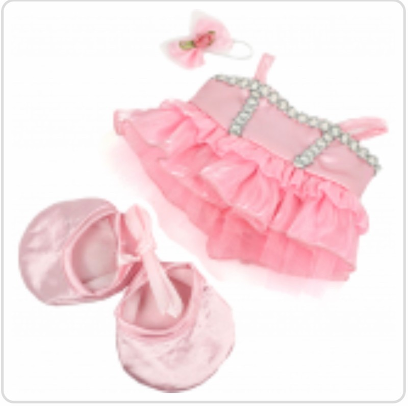 "8"" pink ballerina dress and slippers"