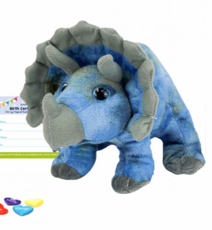 """16"""" triceratops, includes stuffing, a wish, birth certificate and a bag"""