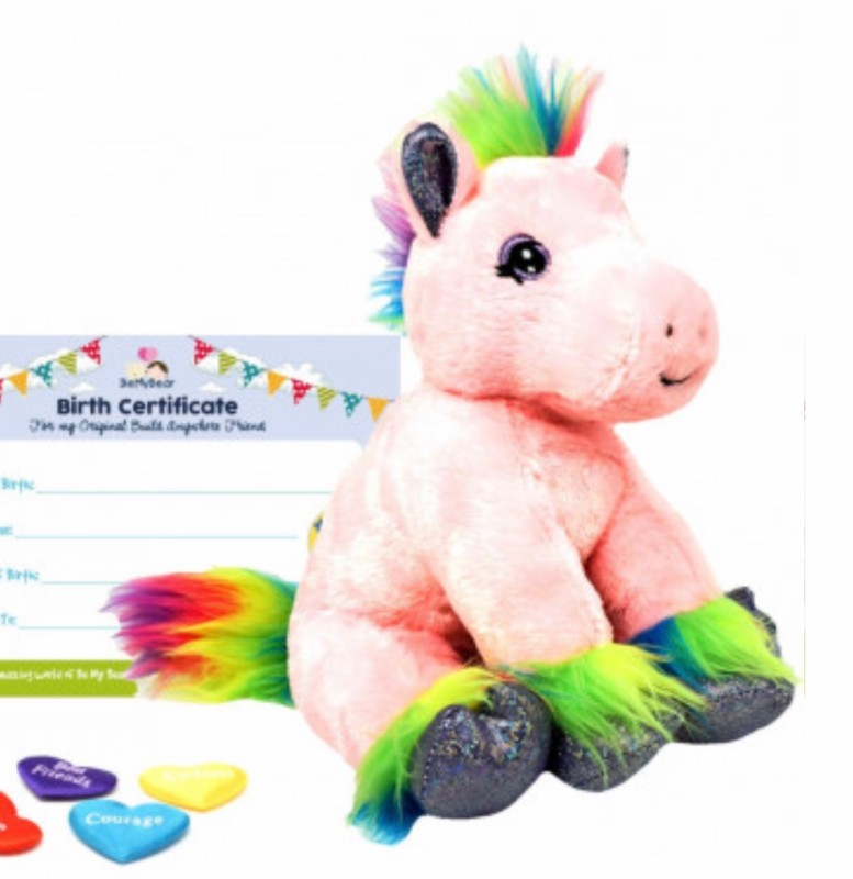 """16"""" rainbow pony, includes stuffing, a wish, birth certificate and a bag"""