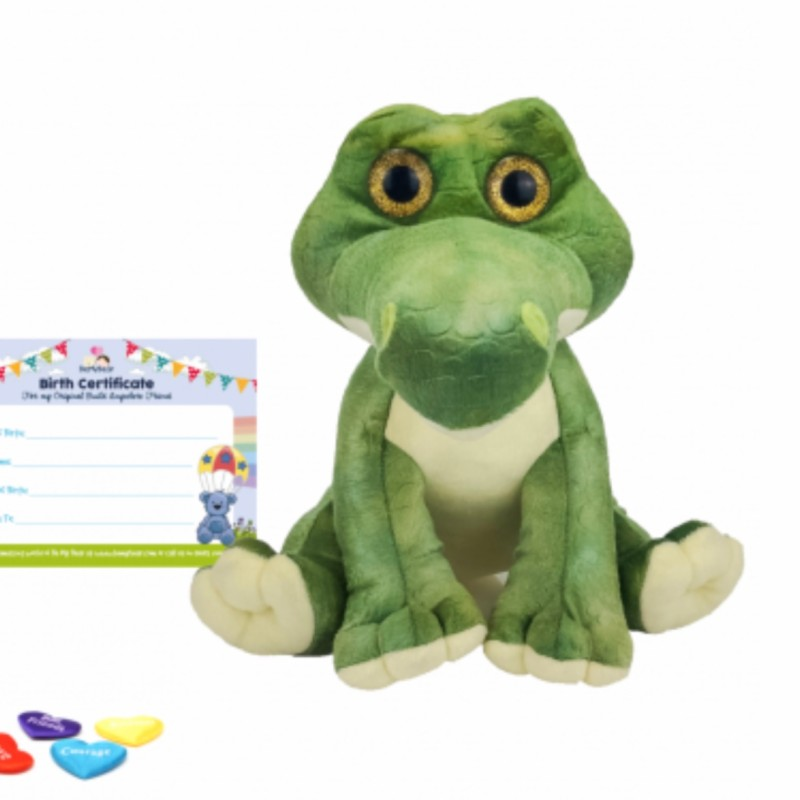 """16"""" alligator, includes stuffing, a wish, birth certificate and a bag"""